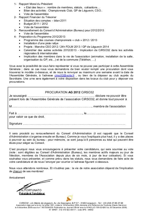 Invitation Assemblée Générale 2012 CiRSO32 - Samedi 02 Juin 2012 à partir de 10h30 Ag2012-2
