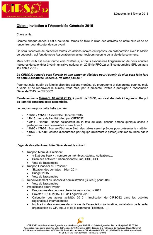 Invitation Assemblée Générale 2015 - Samedi 18 avril à 10h30 Ag2015-1