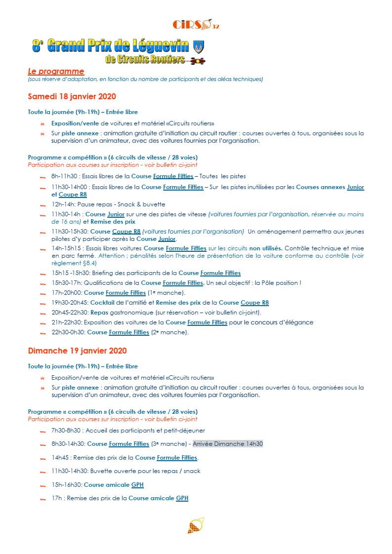 GPL 2020 (Grand Prix de Leguevin) Le programme complet P04